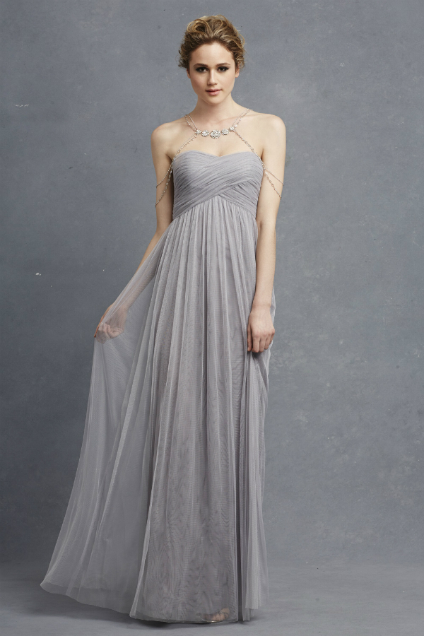 Light gray netted bridesmaid gown