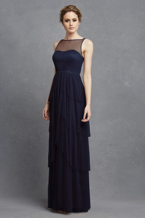 Illusion neckline bridesmaid dress | Hyacinth by Donna Morgan in Navy