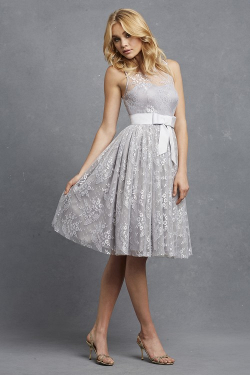 Short lace bridesmaid dress | Libby by Donna Morgan