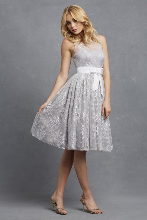 Short lace bridesmaid dress   Libby by Donna Morgan