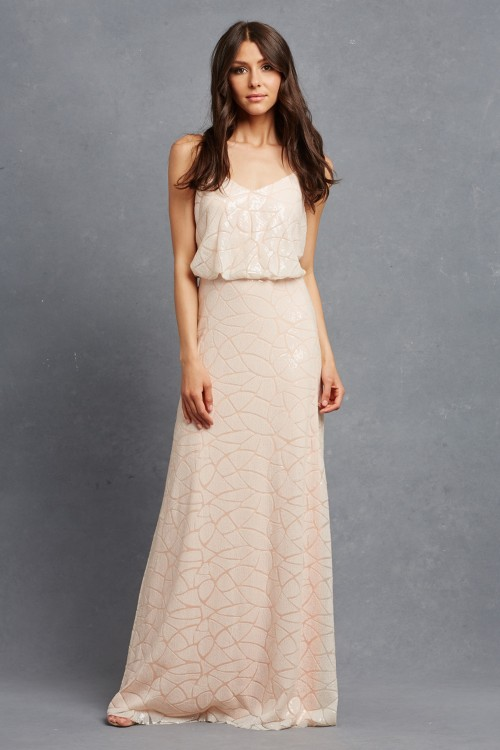 Blush sequin bridesmaid dresses | Olivia by Donna Morgan