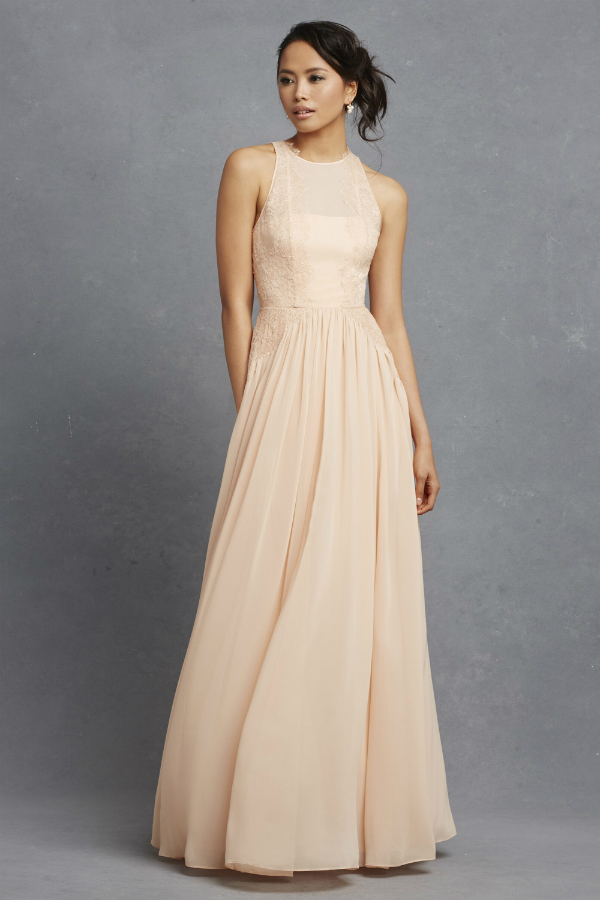 Apricot bridesmaid dress with lace detail from Donna Morgan Serenity Collection