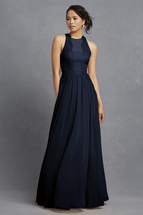 Navy lace long bridesmaid dress | 'Penelope' by Donna Morgan