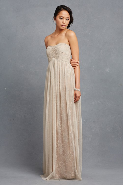 Neutral strapless bridesmaid dresses | Rose by Donna Morgan