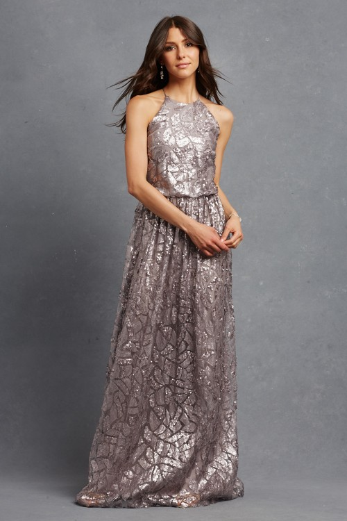 Metallic bridesmaid dress 'Tiffany' in Grey Ridge by Donna Morgan
