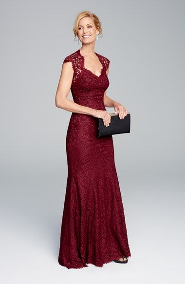 burgundy lace mother of the bride gown