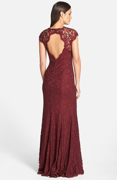 keyhole back deep red lace gown