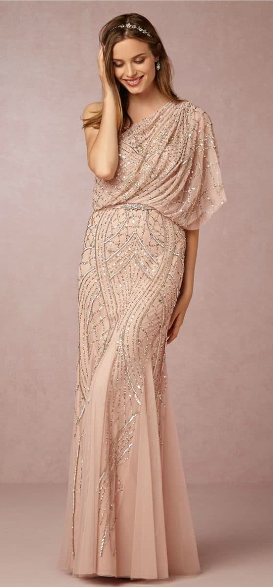 One Shoulder Rose Sequin Dress - Abigail Dress from BHLDN