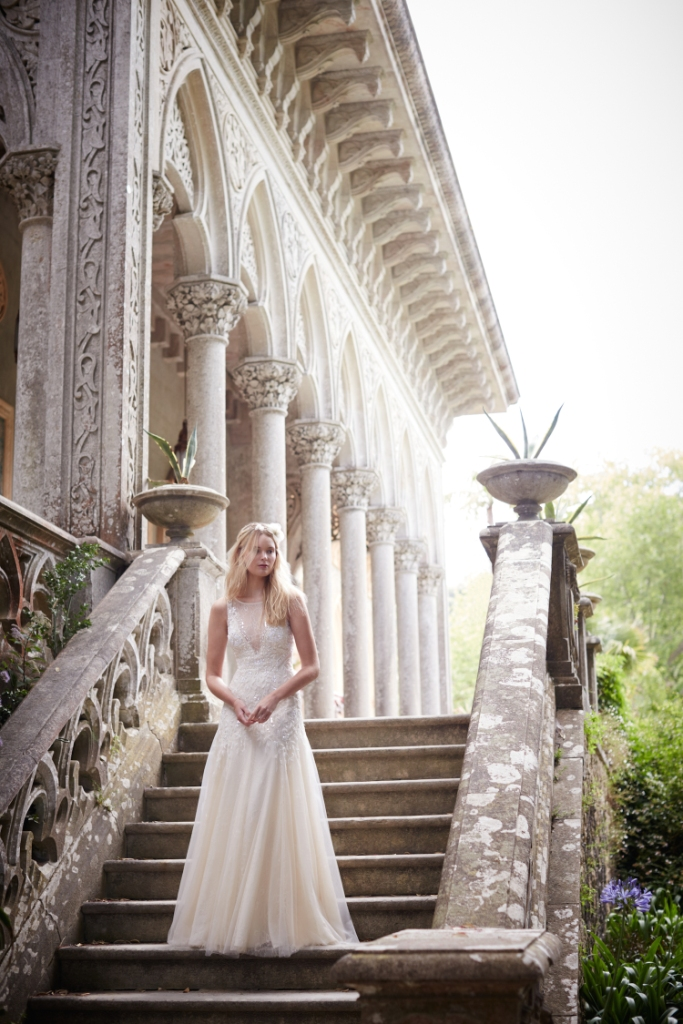 Josina Gown from BHLDN shown with Elspeth Halo