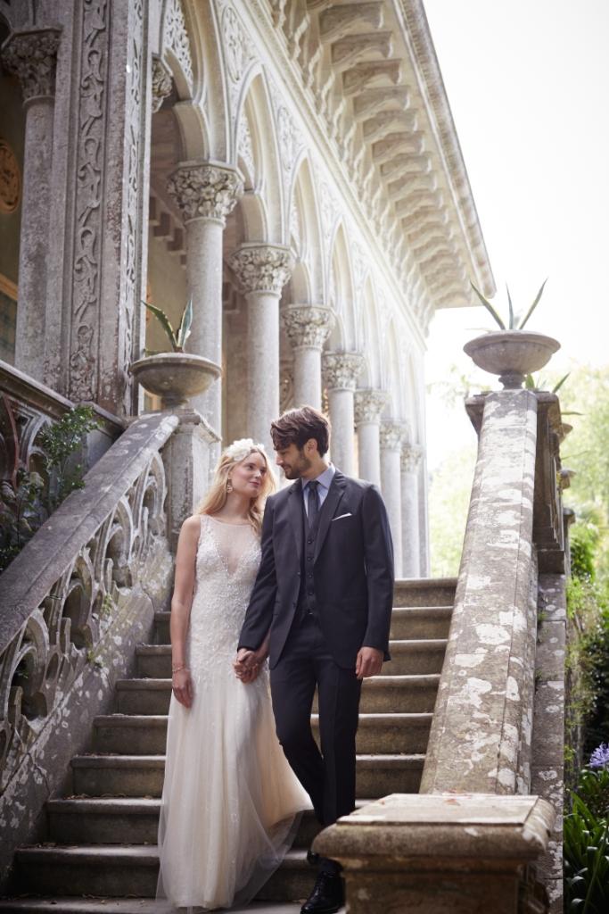Illusion neckline ivory wedding dress   Josina by BHLDN