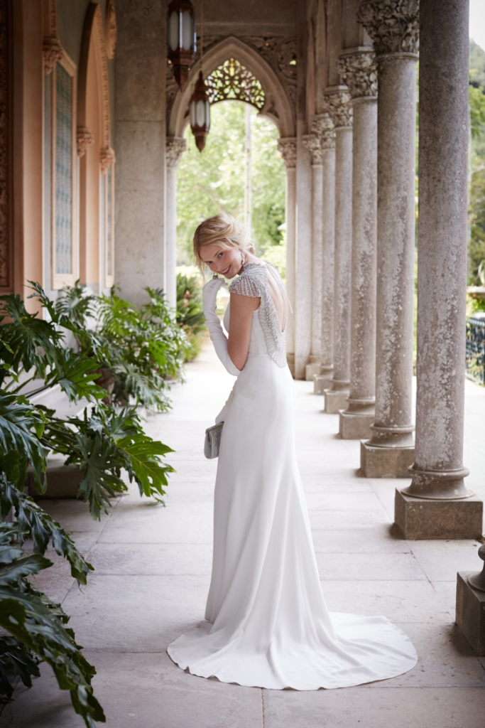 Gorgeous wedding dress with embellished back | Dylan Wedding Dress from BHLDN