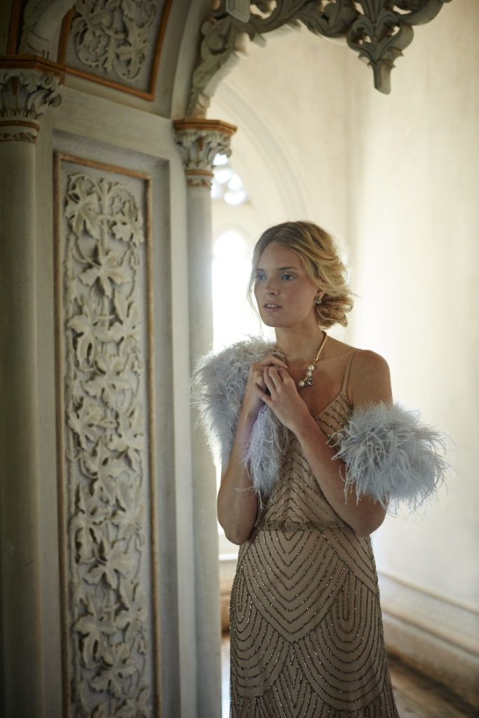 Beaded gown and feather shrug from BHLDN's fall 2015 collection