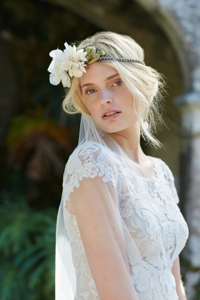 August gown detail with floral crown | BHLDN new wedding dresses