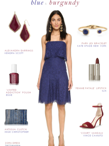Blac lace strapless dress and burgundy Accessories