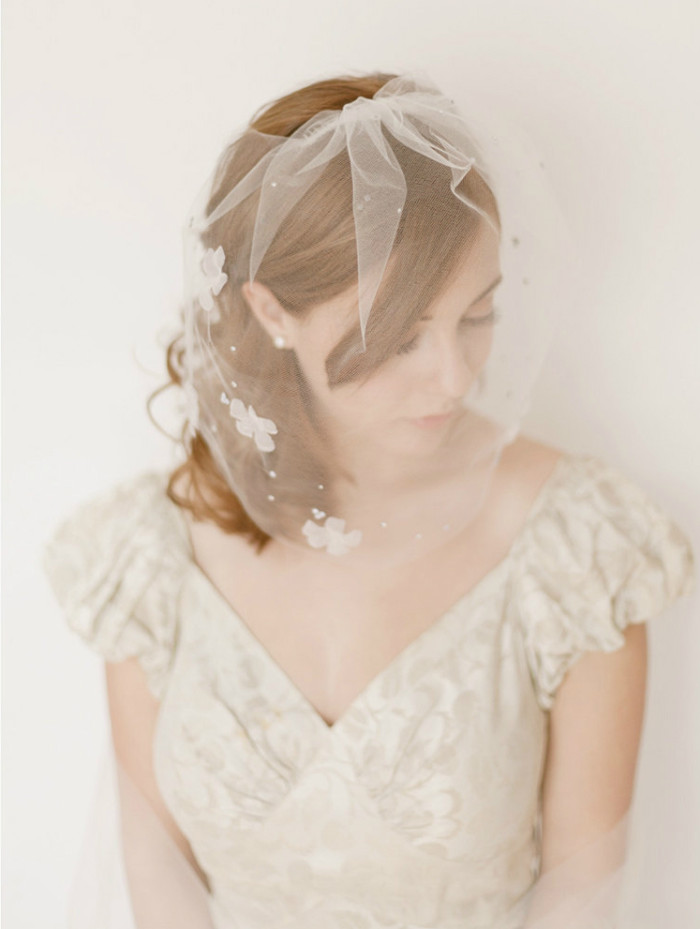 Romantic birdcage blusher wedding veil by Erica Elizabeth Designs on Etsy