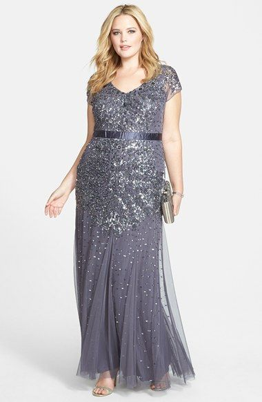 Silver sequin Fall Mother of the Bride Dress