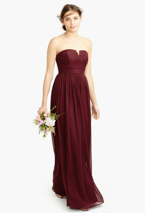 Burgundy bridesmaid gown from J. Crew Fall 2015