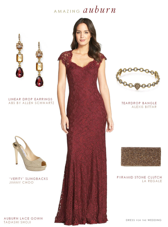 Burgundy lace formal gown