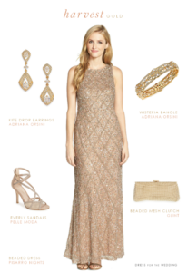 Taupe Beaded Gown for a Wedding