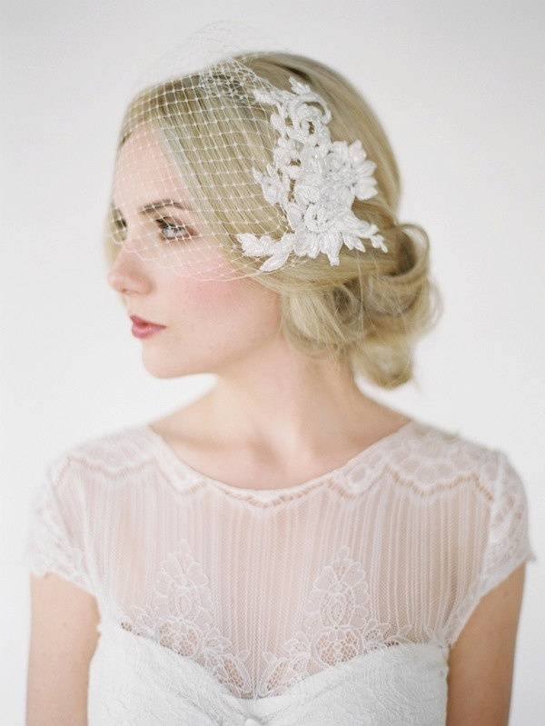 Leila Lace Birdcage Veil by Percy Handmade | Jarred Tyers Photography