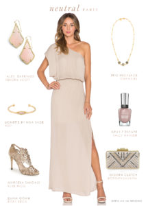 neutral long one shoulder dress