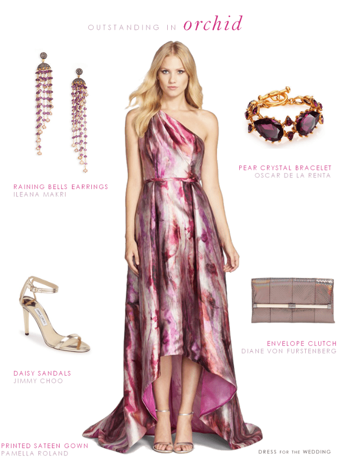 printed gown for fall formal weddings