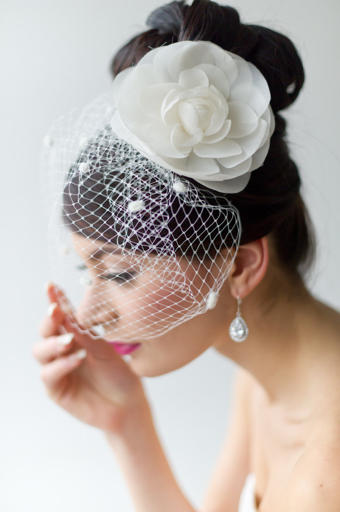 Retro Style Birdcage Veil with Chenille Dots and silk flower by PowderBlueBijoux on Etsy