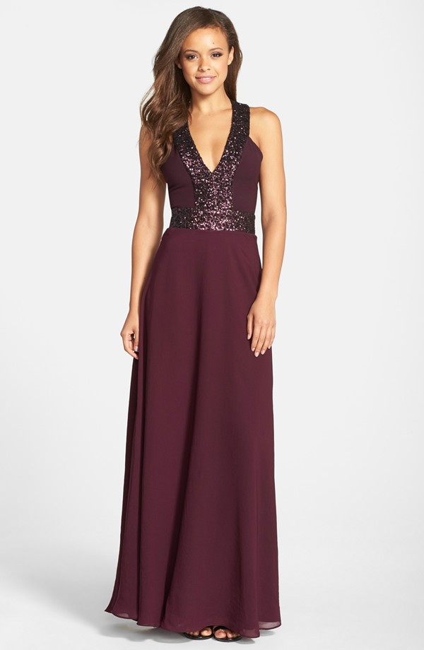 Burgundy sequin gown | Formal dresses for fall wedding guests