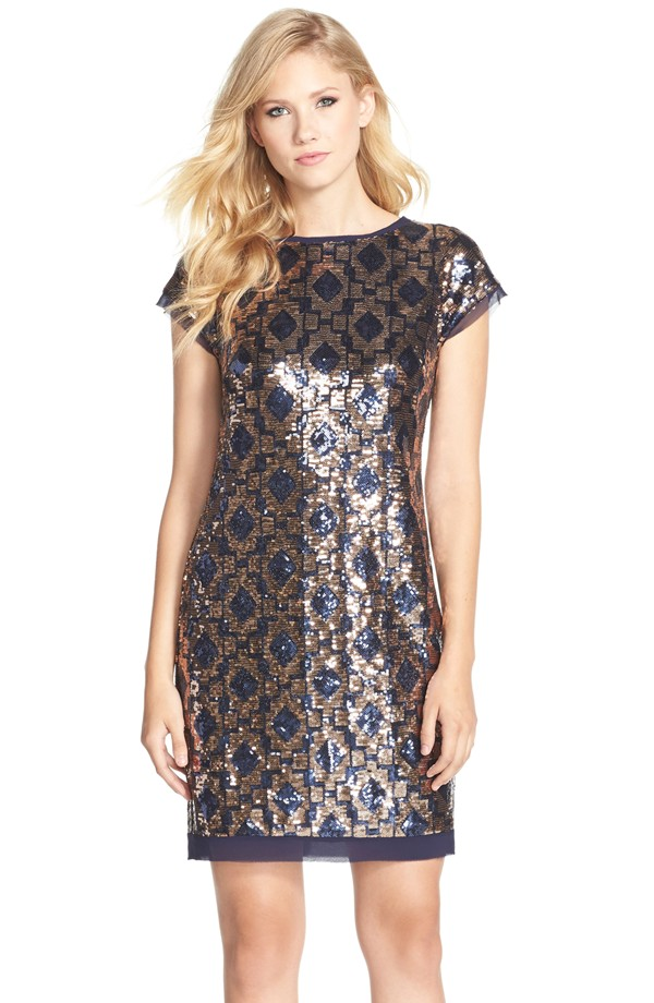What to Wear to a Fall Wedding   Navy and gold sequin shift dress from Nordstrom