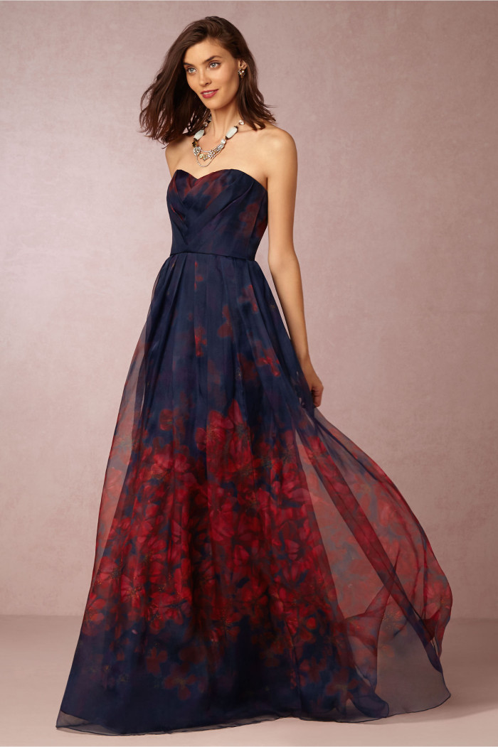 Dark floral print formal gown from BHLDN