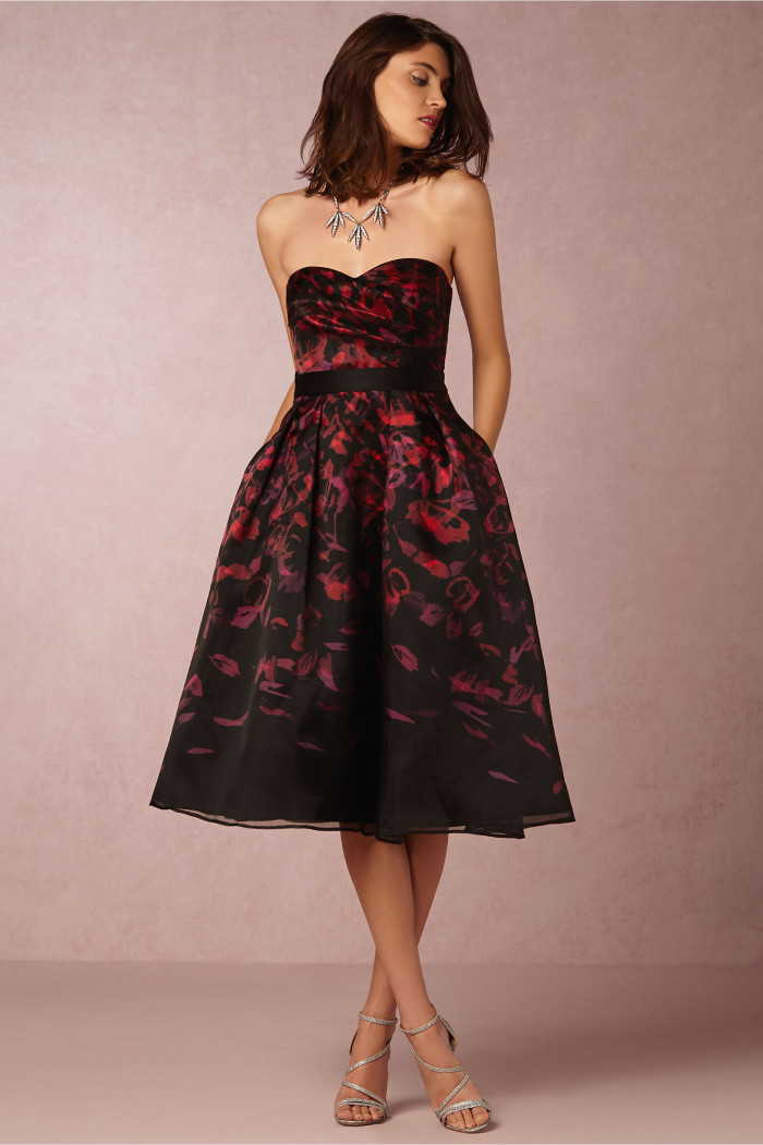 Printed strapless dress from BHLDN | Fall wedding guest dress picks
