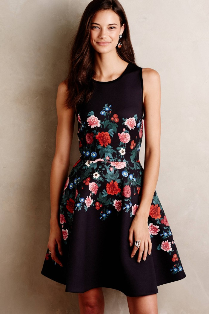 Floral dress for fall weddings   From Anthropologie