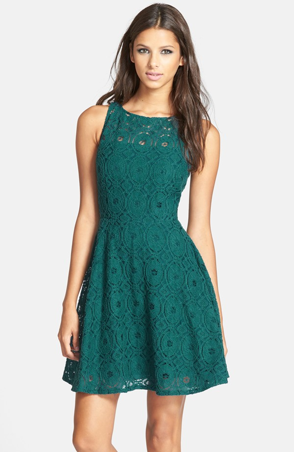 Dark green lace dress for a wedding