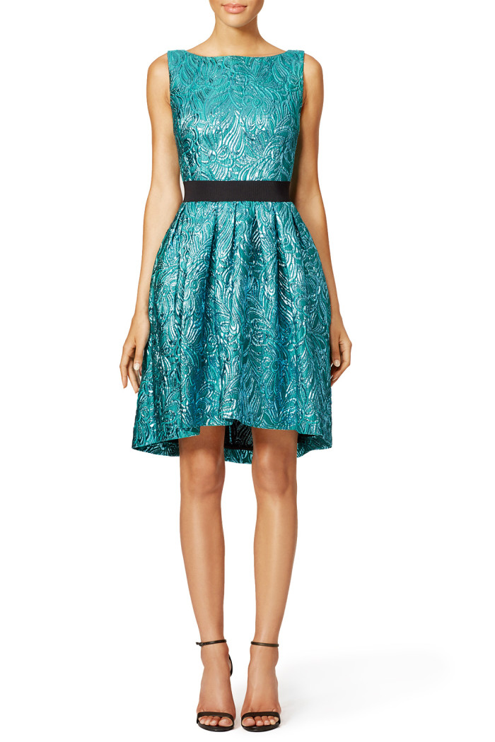 Fall wedding guest dresses | Teal fit and flare dress