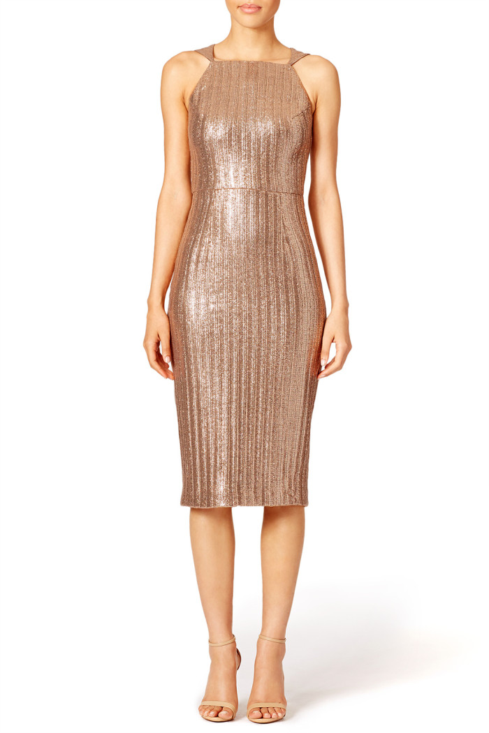 Gold knit dress from Rent the Runway | Semi Formal Fall Wedding Guest Dresses