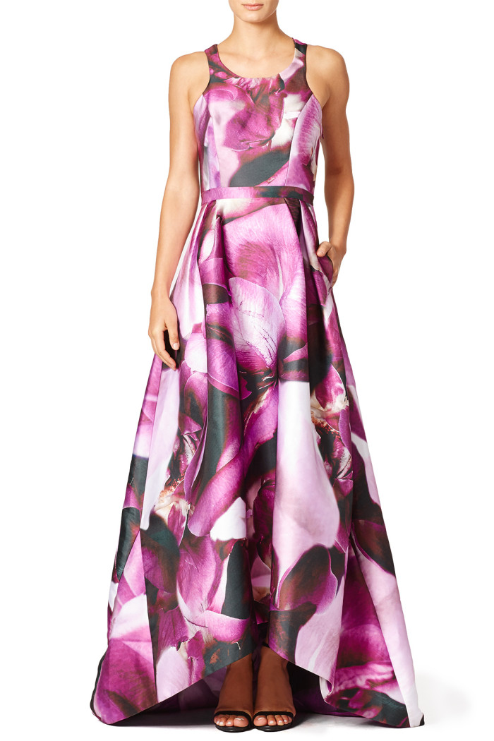Printed gown for a black tie fall wedding | Monique Lhuillier Dress from Rent the Runway