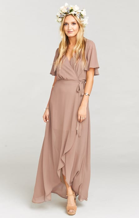 Neutral Long Wrap Dress for a Wedding