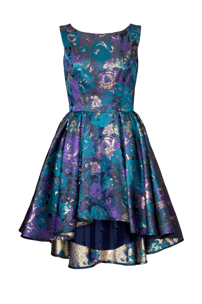 Blue and turquoise and gold dress  What to wear to a fall wedding   Found at Rent the Runway