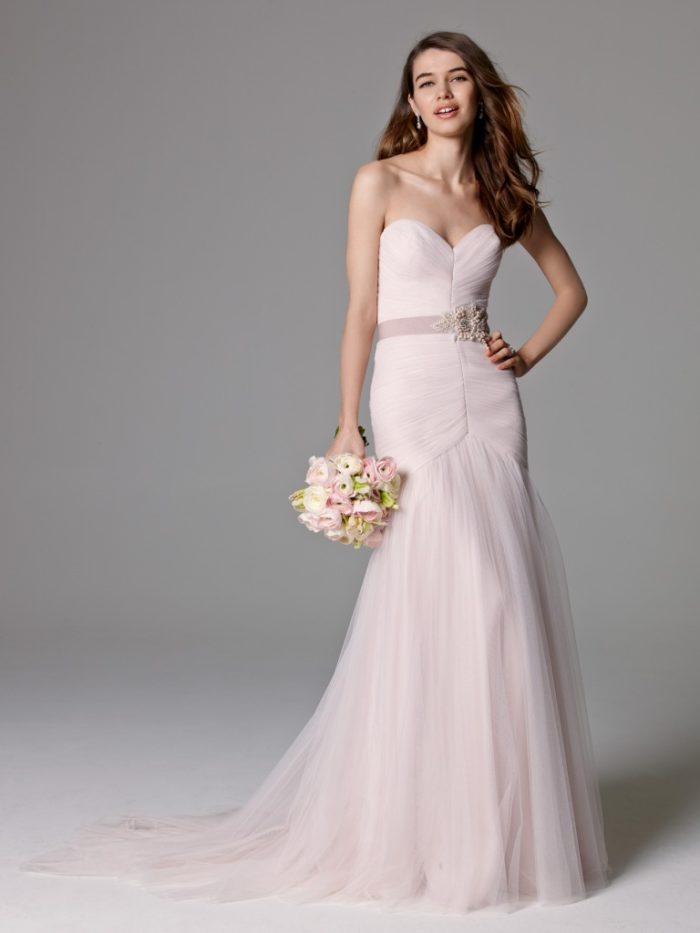 Strapless pink tulle wedding gown by Watters
