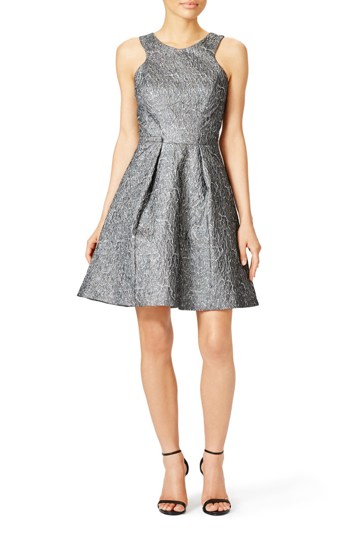 Metallic gray fit and flare dress   Fall 2015 Wedding Guest Dress Ideas