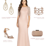 embellished pink gown with sleeves