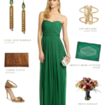 Emerald green gown with bronze accessories