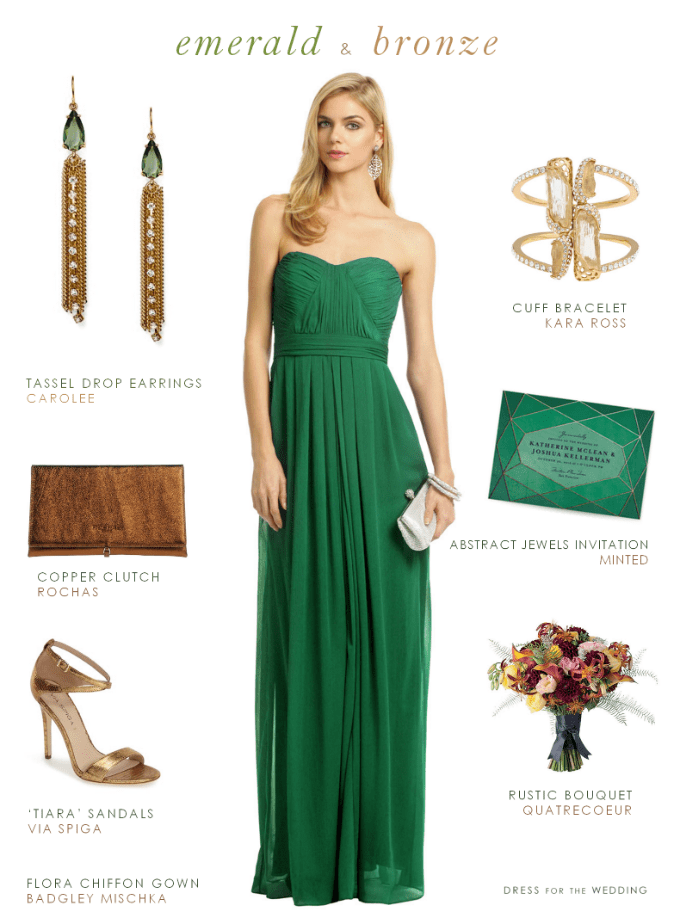 Emerald and Bronze Style for a Wedding