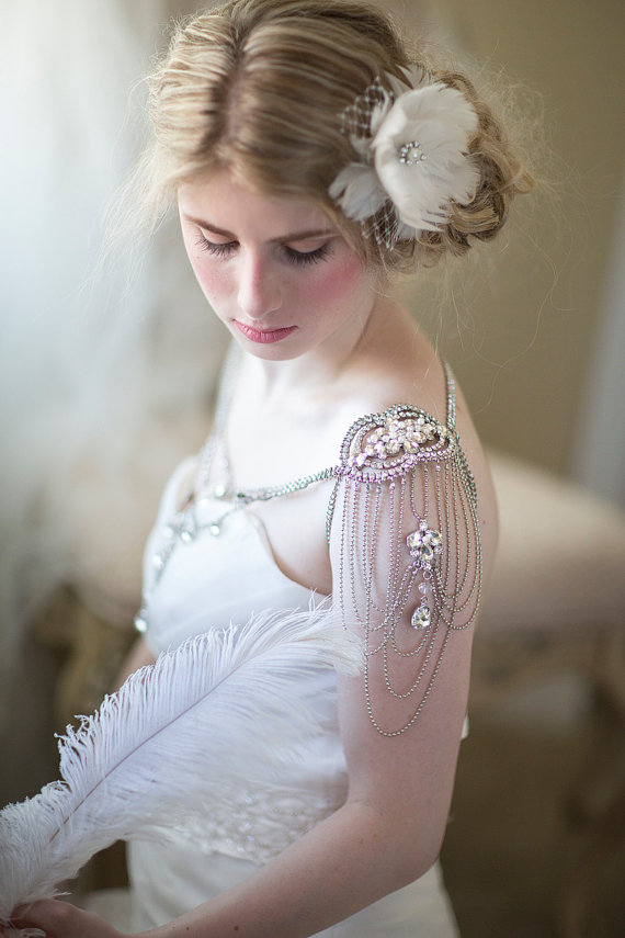Bridal shoulder epaulettes and chain shoulder jewelry from Powder Blue Bijoux on Etsy