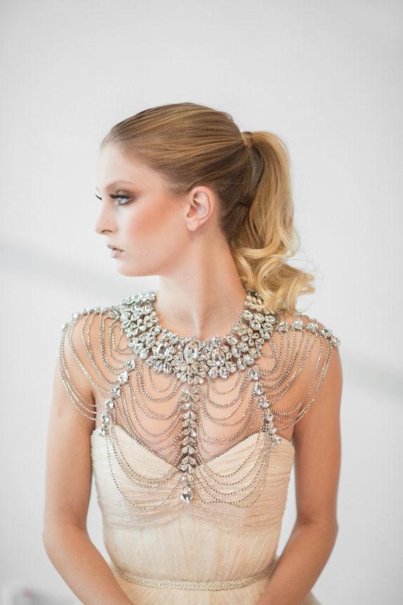 Statement bridal shoulder necklace by Powder Blue Bijoux on Etsy