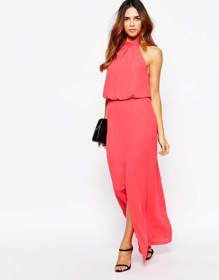 Coral pink maxi dress for fall wedding