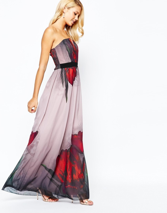 Floral maxi dress for fall wedding guest