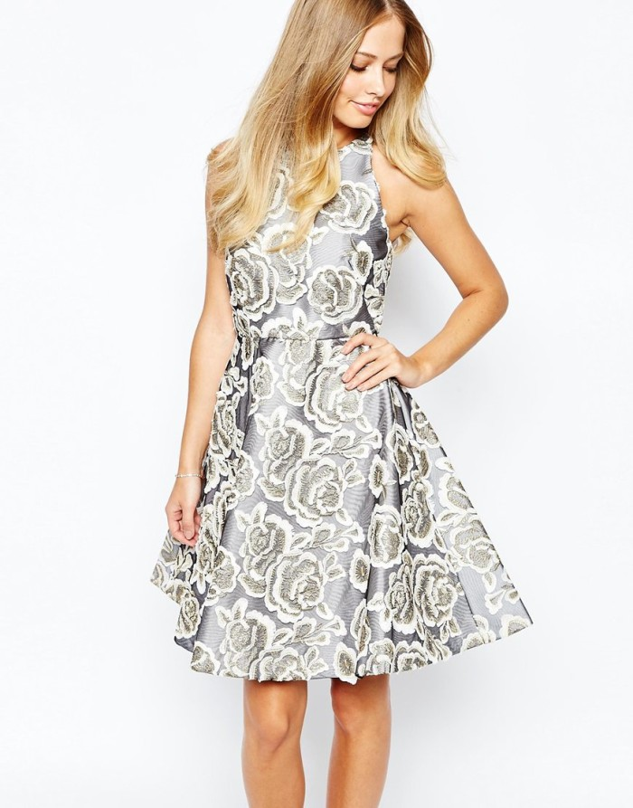 Gray printed fit and flare dress | Asos | Cocktail dresses for fall weddings