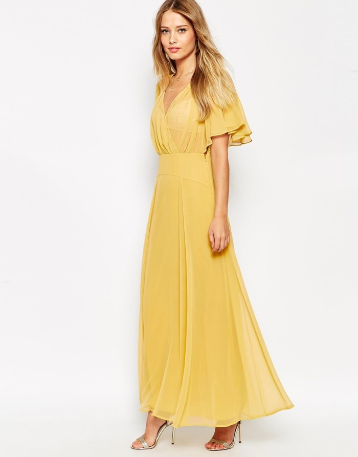 Yellow gold maxi dress with flutter sleeves   Dresses for Wedding Guests