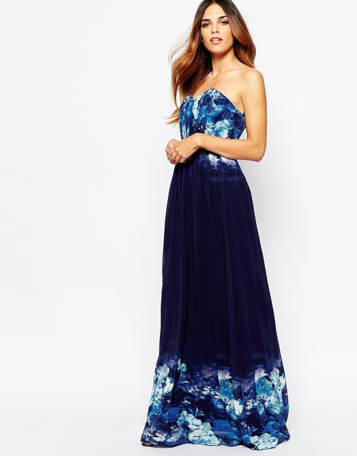 Maxi dress for a fall wedding   Blue floral maxi dress from ASOS